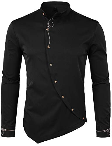 WHATLEES Mens Hipster Irregular Hem Slim Fit Long Sleeve Banded Collar Dress Shirts with Embroidery T21 Black X Large T21-Black-XL X-Large