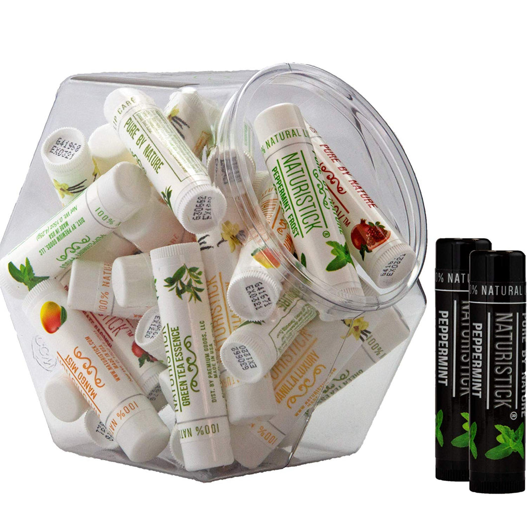 All-Natural Beeswax Lip Balm by Naturistick. 32-Stick Assorted Bulk Pack in Mini Display Fishbowl. Best Moisturizing Chapstick for Healing Dry, Chapped Lips. For Men, Women and Children. Made in USA