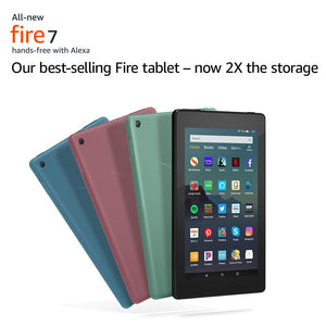 Fire 7 Essentials Bundle including Fire 7 Tablet (Plum, 32GB),  Standing Case (Plum), and Nupro Anti-Glare Screen Protector