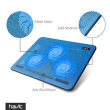 Load image into Gallery viewer, havit HV-F2056 15.6-17 Inch Laptop Cooler Cooling Pad - Slim Portable USB Powered (3 Fans) (Blue)