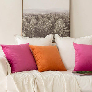 MIULEE Pack of 2 Velvet Pillow Covers Decorative Square Pillowcase Soft Solid Cushion Case for Sofa Bedroom Car 26 x 26 Inch Rose Red
