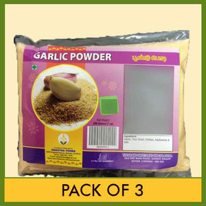 Shastha Foods The Grands Sweets and Snacks (GSS) Garlic Powder/ Podi (Pack of 3) Each Pkt 200g (B-P)