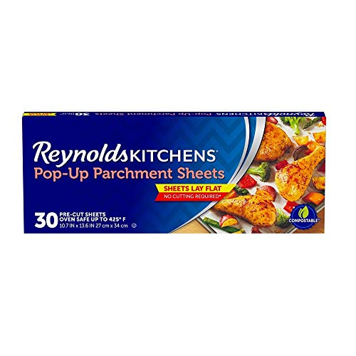 Reynolds Kitchens Pop-Up Parchment Paper Sheets, 10.7x13.6 Inch, 30 Count (Value Pack) 2 Boxes (30 Sheets)