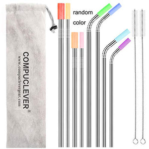 Wantell Stainless Steel Straws Set of 8 Reusable Drinking Straws for 30oz 20oz Tumbler 10.5'' 8.5'' Diameter 0.24'' 0.31'' with 8 Silicone Tips 2 Cleaning Brushes and Pouch(4 Bent 4 Straight) (8.5'' 10.5'') 001