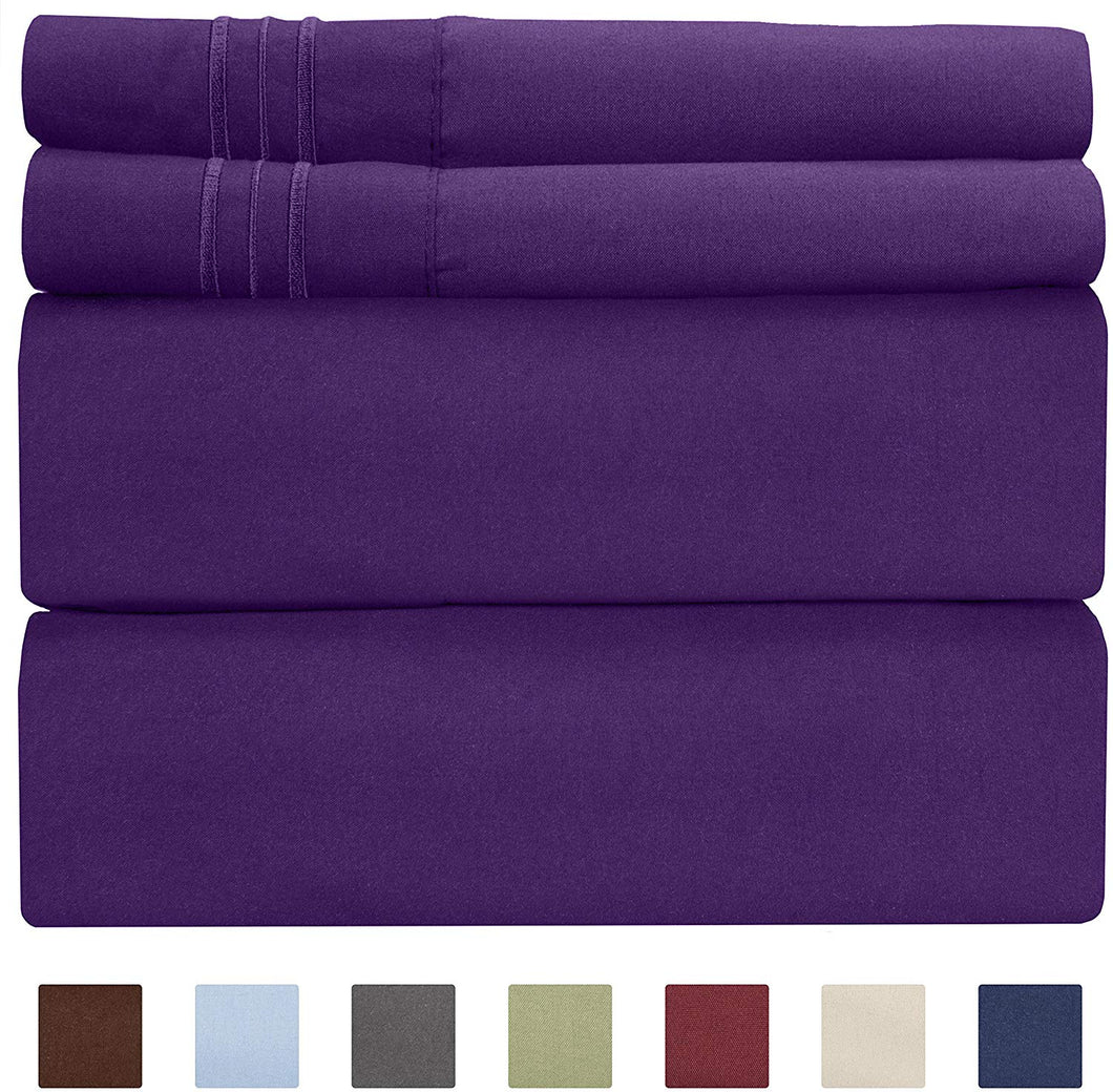 CGK Unlimited Split King Size Sheet Set – 5 Piece Set - Hotel Luxury Bed Sheets - Extra Soft - Deep Pockets - Breathable & Cooling - Wrinkle Free - Comfy – Purple Plum Bed Sheets - Split Kings 5 PC