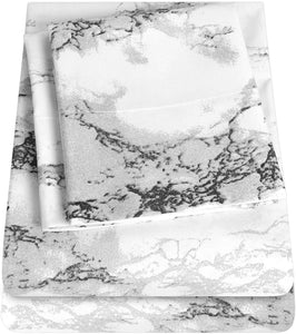 1500 Supreme Collection Extra Soft Marble Print 4-Piece Sheet Set- Luxury Bed Sheets Set with Deep Pocket Wrinkle Free Hypoallergenic Bedding, California King Size
