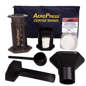 AeroPress Coffee and Espresso Maker with Tote Bag and 350 Additional Filters - Quickly Makes Delicious Coffee Without Bitterness - 1 to 3 Cups Per Press 82R08B Transparent