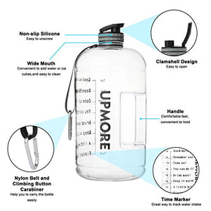 Upmore 1 Gallon / 128oz Water Bottle with Motivational Time Marker 128oz / 73oz Large Capacity BPA Free Reusable Sports Water Jug with Handle to Drink More Water(PFTG,White,128oz) PFTG-White