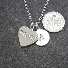 Load image into Gallery viewer, LaFenne Personalized Mother Daughter Son Initial Necklace Heart Mom Pendant Custom 1 2 3 4 5 Children Name Charm (Mom of 3) LF-SH105-1H-D Silver