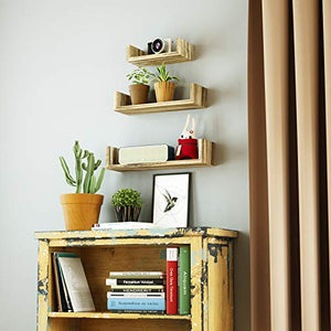SRIWATANA Floating Shelves Wall Mounted, Solid Wood Wall Shelves, Torched Finish 8541858542 L: 16.7x4.7x3.9 in 1 Carbonized Black