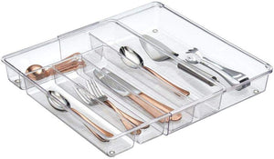 "mDesign Adjustable, Expandable Plastic Kitchen Cabinet Drawer Storage Organizer Tray - for Storing Organizing Cutlery, Spoons, Cooking Utensils, Gadgets - BPA Free, 2"" High - Clear"