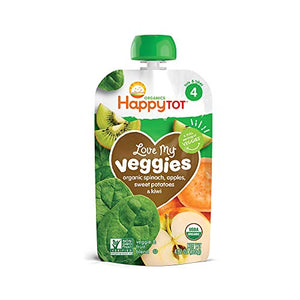 Happy Family Happy Tot Organic Stage 4 Baby Food Love My Veggies Spinach Apple Sweet Potato & Kiwi, 4.22 Ounce (Pack of 16) (Packaging May Vary) V4-SPAPSW-8