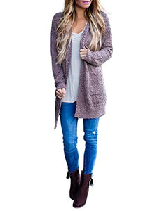 MEROKEETY Women's Long Sleeve Soft Chunky Knit Sweater Open Front Cardigan Outwear with Pockets MKCardigans18-Taro-XL X-Large A-taro