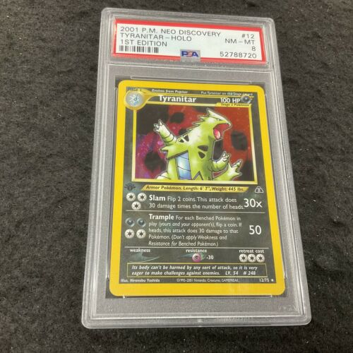 TYRANITAR 1st Edition Holo 12/75 PSA 8 NM-MT 2001 Pokemon Card Neo Discovery