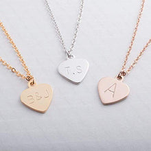 Load image into Gallery viewer, Petite Boutique Necklace Dainty Initial Heart Gold Silver Rose Gold Personalized Hand Stamp Initial Necklace Bridesmaid Birthday Anniversary Christmas Gift Best Graduation Day gift