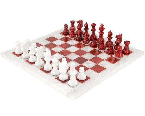 Red & White Alabaster Scali Alabastro of Italy Chess Set 14.5 inches. Rare Find.