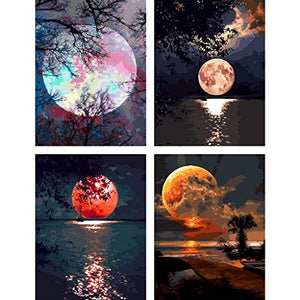 "COLORWORK DIY Paint by Numbers, Canvas Oil Painting Kit for Kids & Adults, 12"" W x 16"" L Drawing Paintwork with Paintbrushes, Full Moon 4 PCS Set Frameless12*16"