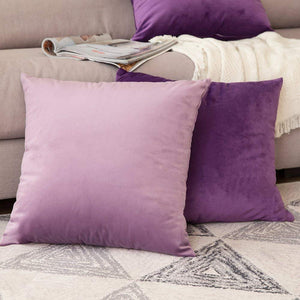 MIULEE Pack of 2 Velvet Pillow Covers Decorative Square Pillowcase Soft Solid Cushion Case for Sofa Bedroom Car 12 x 12 Inch Purple