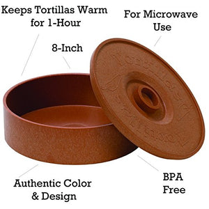 IMUSA USA MEXI-1000-TORTW Tortilla Warmer Terracota 8.5-Inch, Light Brown Brick Color 9 in