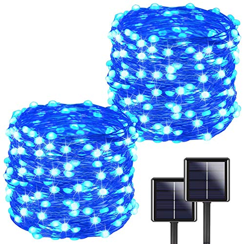 YIQU Blue Solar String Lights Outdoor, 2-Pack Each 72ft 200LED Super Bright...