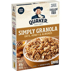 Quaker Simply Granola Oats, Honey & Almonds, Breakfast Cereal, 28 oz Boxes, (2 Pack) 00030000563137 28 Ounce (Pack of 2)