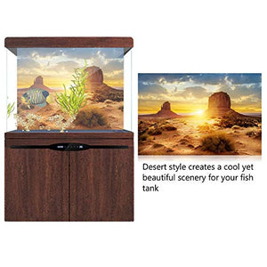HEEPDD Aquarium Poster, Sun and Desert Style Fish Tank Terrarium Background Poster Thicken PVC Adhesive Static Cling Wallpaper Sticker(12246cm) 122*46cm