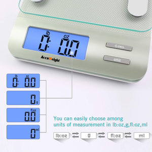 Accuweight 207 Digital Kitchen Multifunction Food Scale for Cooking with Large Back-lit LCD Display,Easy to Clean with Precision Measuring,Tempered Glass (Silver)