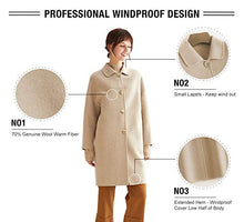 "Load image into Gallery viewer, VUTOLEE Women Winter Pea Coat - Fashion Single Breasted Wool Blend Overcoat Loosen Shoulder Outwear Jacket L09 Cream White L Size(US 12-14) Body Length 36.6"",Bust 44.1"""
