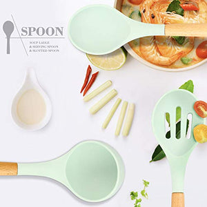 Silicone Kitchen Cooking Utensil Set, EAGMAK 16PCS Kitchen Utensils Spatula Set with Stainless Steel Stand for Nonstick Cookware, BPA Free Non Toxic Cooking Utensils, Kitchen Tools Gift (Mint Green)