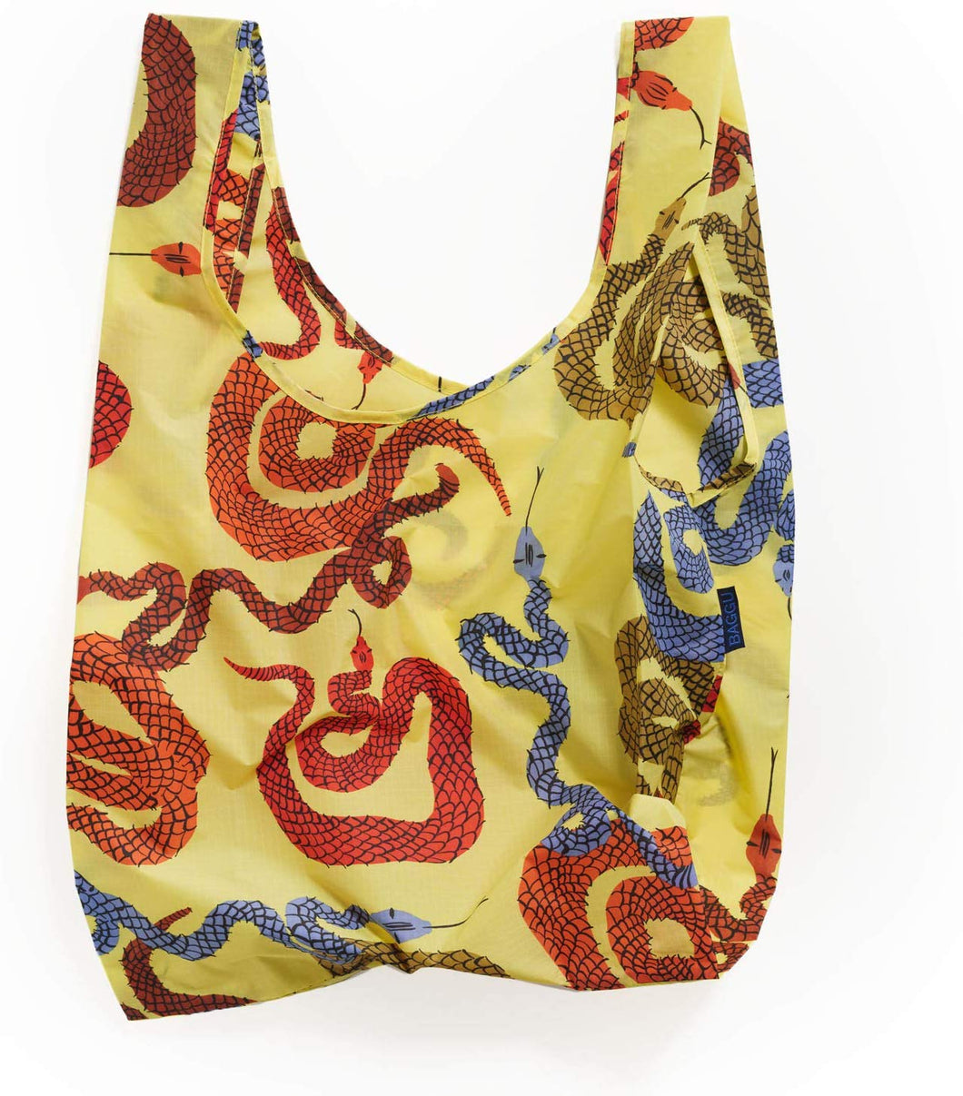 BAGGU Standard Reusable Shopping Bag, Ripstop Nylon Grocery Tote or Lunch Bag, Yellow Snakes