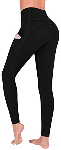 FUNANI High Waist Yoga Pants with Pockets, Yoga Pants for Women Running Workout Yoga Leggings with Pockets(Black-XXL) XX-Large