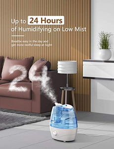 Homasy Cool Mist Humidifiers, Quiet Ultrasonic Humidifiers for Bedroom, Easy to Clean Air Humidifier, Last Up to 24 Hours, Auto Shut-Off, Adjustable Mist Output HM161B Blue