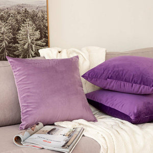 MIULEE Pack of 2 Velvet Soft Soild Decorative Square Throw Pillow Covers Set Cushion Case for Sofa Bedroom Car 16 x 16 Inch 40 x 40 cm Purple