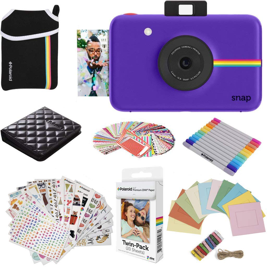 Polaroid Snap Instant Digital Camera (Purple) Protective Bundle with 20 Sheets Zink Paper