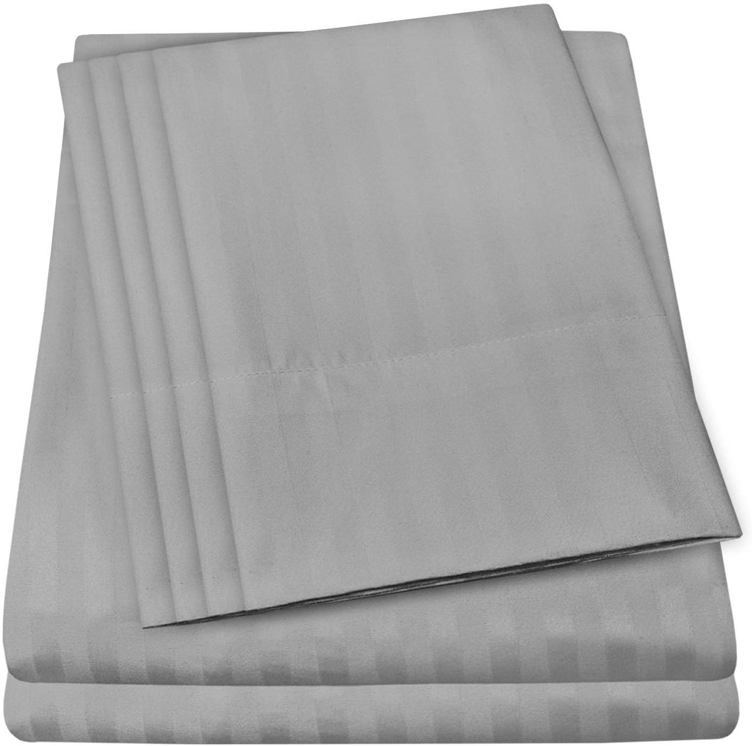 King Size Bed Sheets - 6 Piece 1500 Thread Count Fine Brushed Microfiber Deep Pocket King Sheet Set Bedding - 2 Extra Pillow Cases, Great Value, King, Dobby Silver
