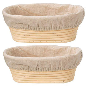 DOYOLLA Set of 2 10inch Oval Shaped Banneton Brotform Bread Dough Proofing Rising Rattan Basket & Liner Combo 2pcs 10inch Beige