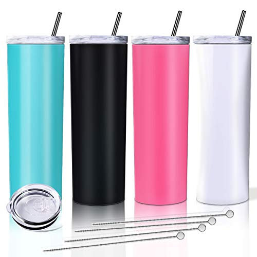 Zonegrace 4 Pack Mix Color Skinny Tumbler with straws,Double Wall stainless...