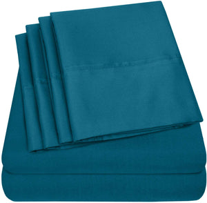 Sweet Home Collection Quality Deep Pocket Bed Sheet Set - 2 EXTRA PILLOW CASES, VALUE, Twin XL, Teal, 4 Piece
