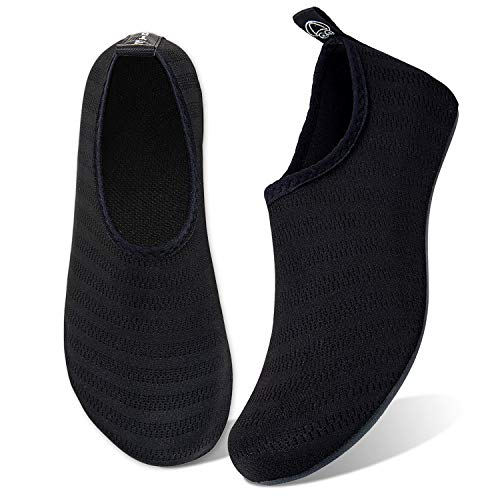 WateLves Water Shoes for Womens Mens Barefoot Quick-Dry Aqua Socks for Beach Swim Surf Yoga Exercise New Translucent Color Soles (Stripe-Black, 34/35) TouMing Sock-Stripe-Black-34/35 3.5-4 Stripe/Black