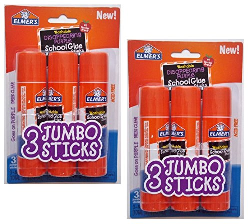 Elmer's Elmers Jumbo Disappearing Purple School Glue Stick, 1.4 Ounce, 2 Packs...