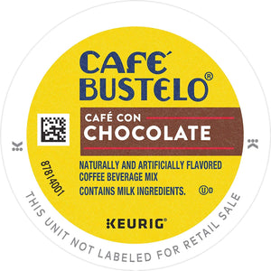 Café Bustelo Coffee Café Con Chocolate Flavored Espresso Style Coffee, 96 K Cups for Keurig Coffee Makers - PACK OF 3