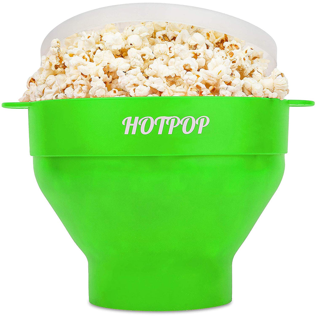 The Original Hotpop Microwave Popcorn Popper, Silicone Popcorn Maker, Collapsible Bowl Bpa Free and Dishwasher Safe- 12 Colors Available (Green)
