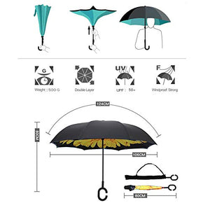 ARDECO Inverted Reverse Umbrella Windproof - Protection Double - Layer, Straight Umbrella Upside Down Self Stand Waterproof Umbrella, Inside Out C Shaped Umbrella (Sun Flower)