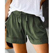 Load image into Gallery viewer, Aonember Womens Drawstring Elastic Waist Short Casual Summer Loose Beach Shorts with Pockets Small A-army Green