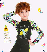 Load image into Gallery viewer, NATYFLY Kids Wetsuit,2.5mm Neoprene Thermal One Piece Swimsuit,Boys Girls and Toddler Wet Suits for Scuba Diving,Youth Full Suit (Dark Green, Small/2-3Years Old)
