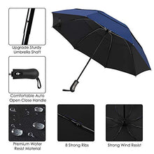 Load image into Gallery viewer, Prodigen Inverted Folding Umbrella Travel Umbrella Windproof Compact Umbrella Inside Out Umbrella Reversible Reverse Umbrella Automatic Open and Close Umbrella for Woman & Man UV Sun & Rain (Blue) Double Canopy Upgrade-Blue