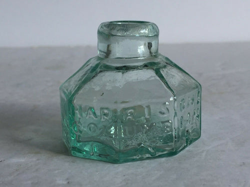 Antique American Glass Aqua HARRISON'S COLUMBIAN Ink Bottle Pontil 8 Sided