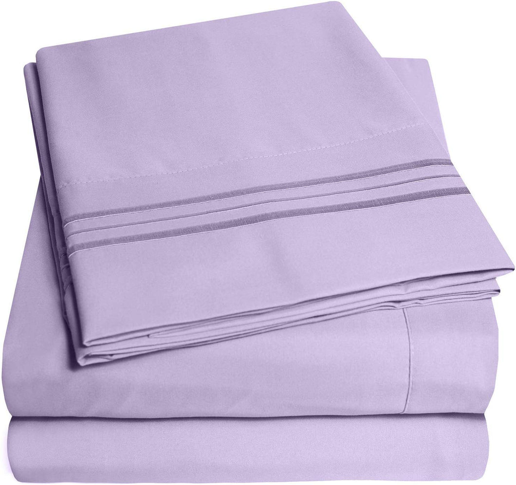 1500 Supreme Collection Bed Sheets Set - Luxury Hotel Style 4 Piece Extra Soft Sheet Set - Deep Pocket Wrinkle Free Hypoallergenic Bedding - Over 40+ Colors - King, Lavender