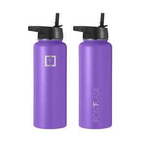 Iron Flask Sports Water Bottle - 14oz, 18oz, 22oz, 32oz, 40oz, or 64oz, 3 Lids (Straw Lid), Vacuum Insulated Stainless Steel, Hot Cold, Modern Double Walled, Simple Thermo Mug, Hydro Metal Canteen