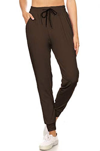 Leggings Depot JGA128-BROWN-SMALL Solid Jogger Track Pants w/Pockets, Small